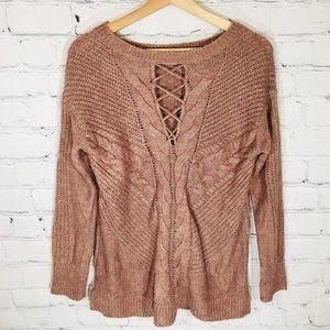 MAURICES Pink Cable Knit Cut Out Neck Sweater S